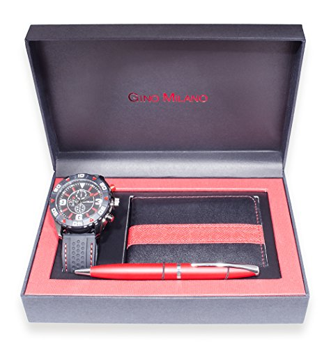 (Gino Milano Men's Matching Watch, Wallet & Pen Gift Set (red))