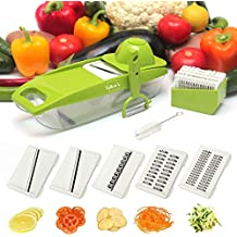 Deluxe Mandoline Slicer with Peeler-5 Interchangeable Stainless Steel Blades, Cleaning Brush, ABS Premium Plastic! Cheese Grater, Julienne Slicer, Safety Hand Guard Included-FREE Ebook-ByTallen's