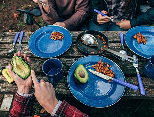 STANSPORT – Deluxe 24-Piece Enamel Tableware Set: Plates, Bowls, Mugs & Utensils