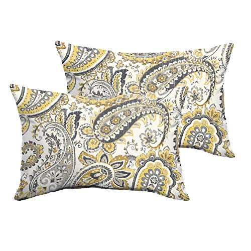 Humble and Haute Selena Grey Gold Paisley Indoor/Outdoor Knife-Edge Lumbar Pillows (Set of 2) 13 in h x 20 in w