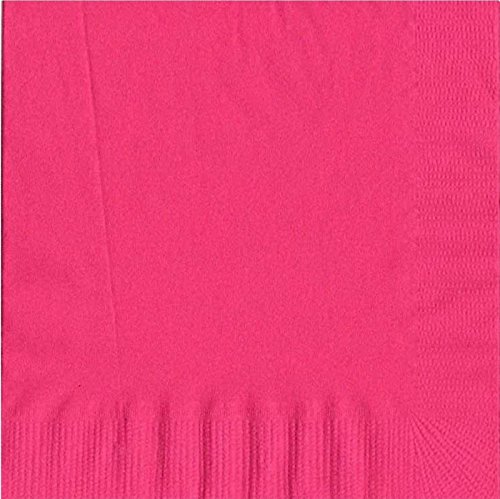 50 Plain Solid Colors Luncheon Dinner Napkins Paper - Hot Pink