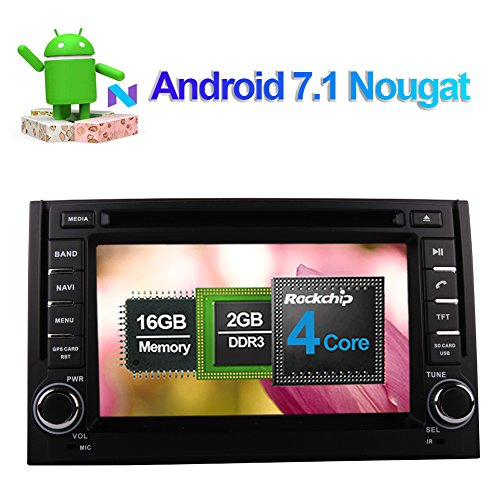 Flynavigo Android 7.1 Quad Core Car Radio Stereo In Dash DVD Player Support GPS Navigation 1080P Video 3G/WIFI Bluetooth Phonebook AV Output Cam-In for Hyundai H1 Grand Starex 2007-2012(Black)