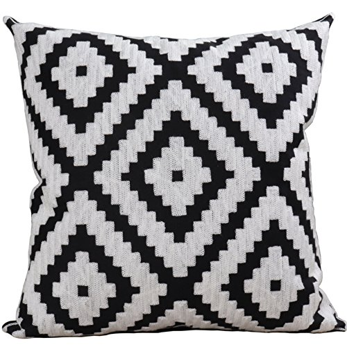 Bridgeso Soft Cushion Case Geometric Pattern Minimalist embroidered Home Décor Design Throw Pillow Cover for Living Room, 1-Pack, 18