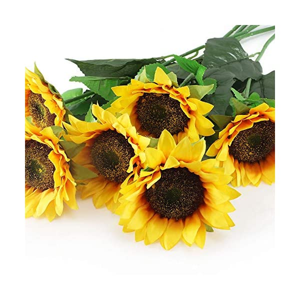 HUAESIN 6pcs Artificial Fake Sunflower Bouquets Floral Head Silk Sunflower with Stem for Yellow Rustic Wedding Party Table Centerpieces Decorations