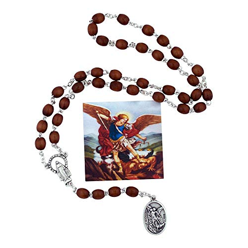 (VILLAGE GIFT IMPORTERS St. Michael Chaplet | Wooden Brown Beads | Rosary Necklace | Saint Medal with Case and Picture | Christian Jewelry ...)
