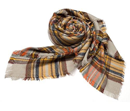 Cozy Tartan Blanket Scarf Wrap Shawl Neck Stole Warm Plaid Checked Pashmina Beige from DEARCASE
