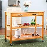 #3: Harper&Bright Designs Kitchen Dining Trolley Cart Storage Cart with Drawers & Shelves (Walnut)