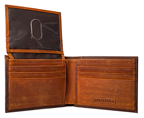 MUTBAK Citadel - RFID Blocking Bifold Wallet Passcase with Full Grain Leather and Flip Up ID ()
