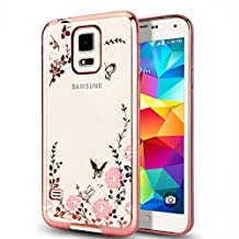 Galaxy S5 Case,Jwest S5 Neo Luxury Stylish Design Electroplated Slim Fit Lightweight Ultra Thin Metallic luster TPU Case Cover with HD Screen Protector for Samsung Galaxy S5/S5 Neo SV I9600 - Butterfly Flower Rose Gold