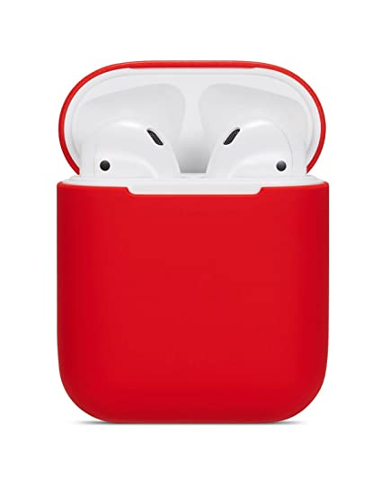 ea7e839bf50 Amazon.com: Airpods Case Soft Silicon Skin and Cover with Utral Slim 0.8mm  Compatible Apple Airpods Charging Case - Red: Cell Phones & Accessories