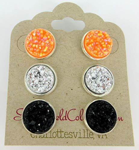 (Trio Silver-tone Stud Earrings Faux Druzy Stone Orange AB Black Set 12mm)