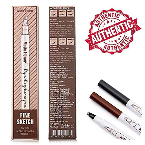 Tattoo Eyebrow Pen Waterproof Ink Gel Tint with Four Tips, Long Lasting Smudge-Proof Natural Hair-Like Defined Brows All Day Review