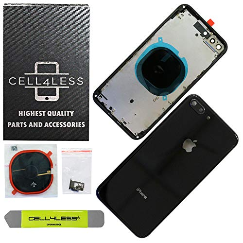 CELL4LESS Back Housing Assembly Metal Frame w/Back Glass - Wireless Charging pad - Sim Card Tray and Camera Frame and Lens for iPhone 8 Plus (Black)