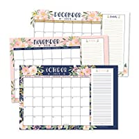 """Navy Floral 2020 Large Monthly Desk or Wall Calendar Planner, Big Giant Planning Blotter Pad, 18 Month Academic Desktop, Hanging 2-Year Date Notepad Teacher, Family Home or Business Office 11x17"""""""