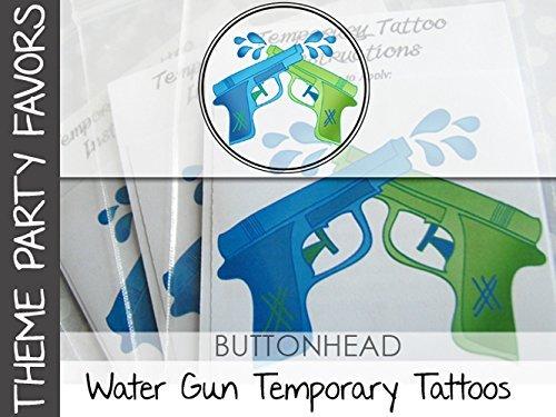 Pool Party Favors - Water Gun - Water Wars - Watergun Party Favor Temporary Tattoos - Set of 6