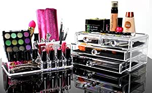 Best Acrylic Makeup Organizer For BEAUTIFUL Cosmetic Storage - 2 Piece Quality Display For Make Up & Jewelry - This Clear Organiser Case Is The PERFECT Holder For All Your Cosmetics - Cute & Modern