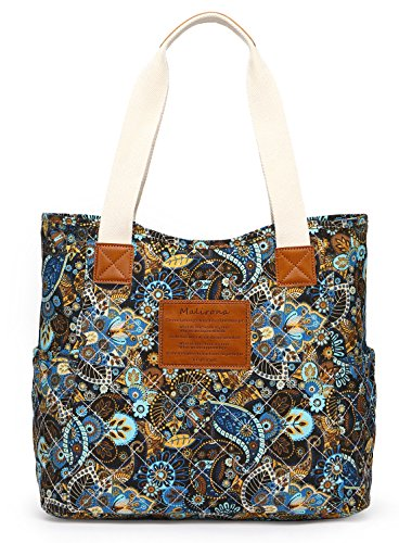 (Malirona Canvas Beach Bags and Totes for Women Zippered Beach Shoulder Bag (Black Flower))