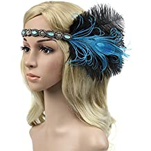 BAOBAO 1920s Womens Great Gatsby Peacock Feather Flapper Headband Hairband Wedding Party