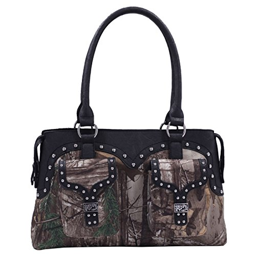 Realtree Camo Satchel Purse Tree Print Camouflage Handbag Black Trim