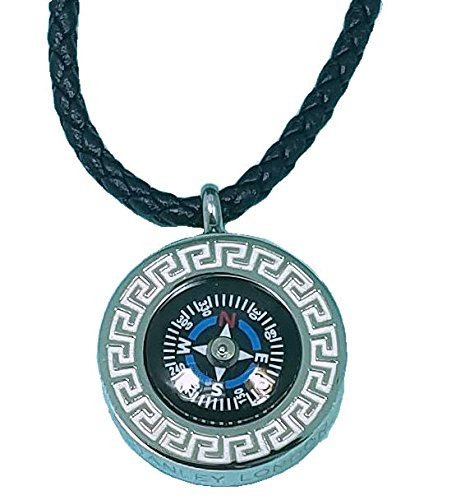 Stanley London Engraved Greek Compass Pendant with Braided Leather Necklace