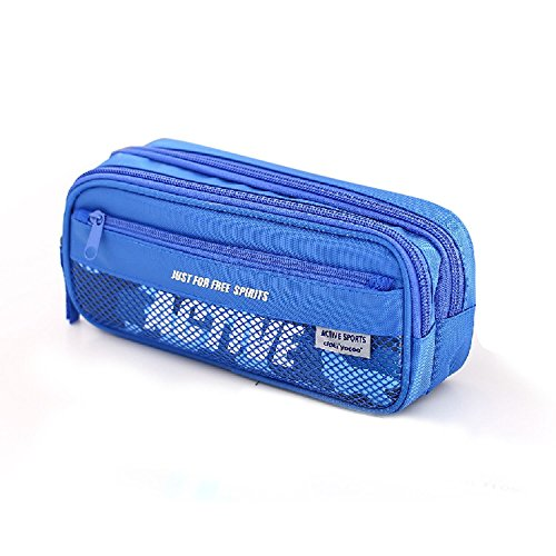 Pencil Case,izBuy Canvas Pencil Pouch Portable Stylish Pen Cases Nylon Liner Pencil Bag Carrier (Blue)