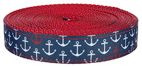 Leash Nylon Anchors Ribbon (Country Brook Design 3/4 Inch Anchors Away on Red Nylon Webbing, 5 Yards)