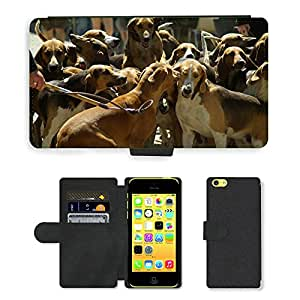 CARD POCKET BOOK CASE PU LEATHER CASE // M00103971 Caza Perros de Caza Paquete // Apple iPhone 5C