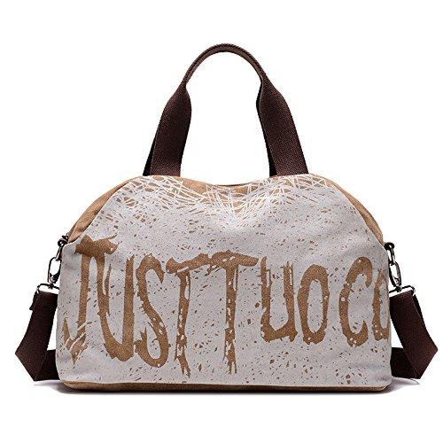 lkklily-new bolso lavado lienzo bolsa portátil de alta capacidad bolsa bandolera de letras, gris marrón