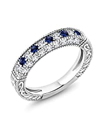 1.00 Ct Blue and White Created Sapphire 925 Sterling Silver Wedding Band Ring (Available in size 5, 6, 7, 8, 9)