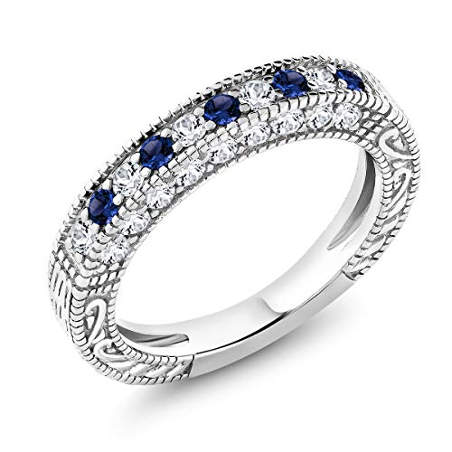 Gem Stone King 1.00 Ct Blue and White Created Sapphire 925 Sterling Silver Wedding Band Ring (Size 9)