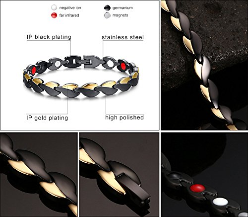 Magnetic Therapy Energy Titanium Bracelet with 4 Elements for Women Health Arthritis Pain Relief Gold Black Two Tone Photo #7