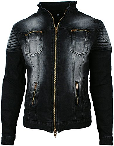 Angel Cola Men's Biker Slim Fitted Distressed Washed Denim Jacket Black M