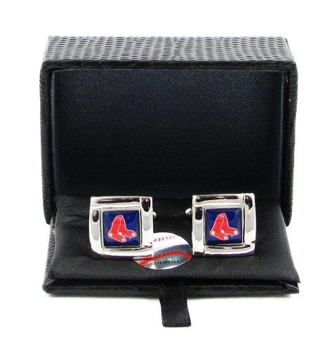Aminco International MLB Boston Red Sox Team Logo Square Cufflinks Gift Box Set (Boston Red Cufflinks Silver Sox)