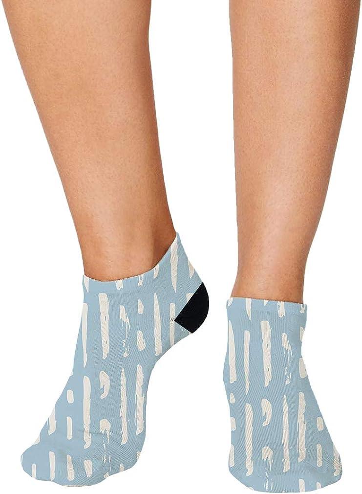 Blue And White Pitter Pattern #28 Men-Women Adult Ankle Socks Novelty Socks