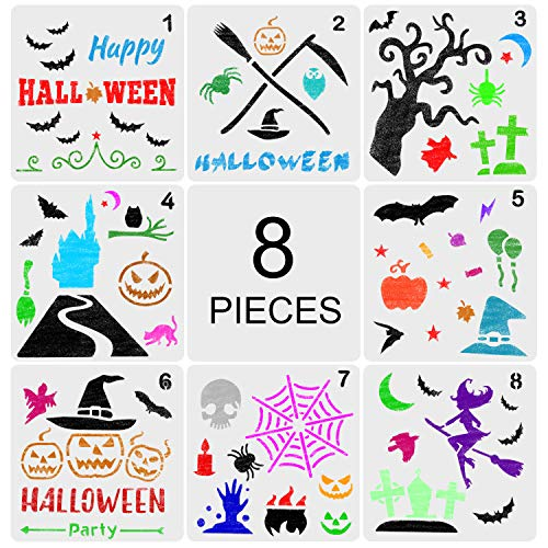 Aozer Halloween DIY Decorative Stencils Set of 8 Pack 5x5 Inch for Painting on Wood, Craft Cards Making, Wall/Glass Painting, Home Decor Or More -