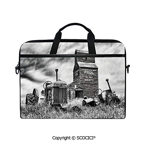 Printed Waterproof Laptop Shoulder Messenger Bag Case Old 60s Abandoned Tractor in The Farm in Central Canada Nostalgic Machinery Elements Image for 15 Inch Laptop Notebook ()