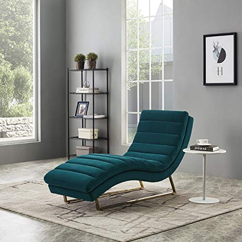 Limari Home LIM-76074 Ernesto Collection Modern Style Living Room Velvet Fabric Upholstered Contemporary Tufting Lounge Chaise with Stainless Steel Metal Legs, -