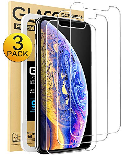 Mkeke iPhone Xs Screen Protector, iPhone X Screen Protector Tempered Glass Film for Apple iPhone Xs iPhone X 10 5.8-Inch, 3-Pack