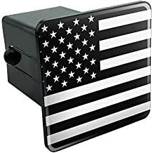 """Subdued American USA Flag Black White Military Tactical Tow Trailer Hitch Cover Plug Insert 2"""""""