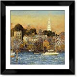 Cutler Miles Newport October Sundown Framed Oil on Canvas Painting Wall Decor Art with Matboard by Frederick Childe Hassam , 24 inches x 24 inches