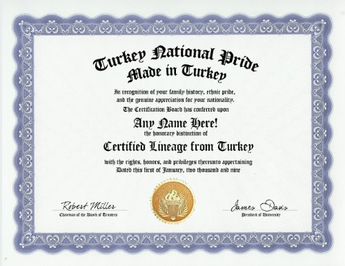 (Turkey Turk Turkish National Pride Certification: Custom Gag Nationality Family History Genealogy Certificate (Funny Customized Joke Gift - Novelty Item))