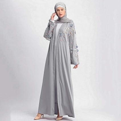 CAOQAO Loser normalny lakier ubrania kobiety wyszywane długa sukienka Robe Offen Abaya Cardigan Muslimischen Dubai Robe Gown sukienka elegancka haft: Odzież