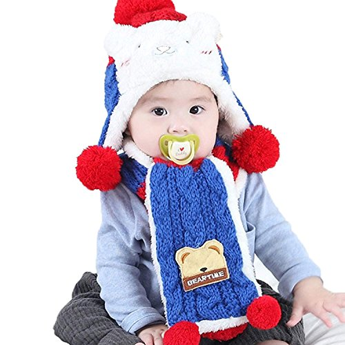 KLIOLO Lindo Oso de Invierno cálido Sombrero con Bufanda de Oreja para bebé  niños niñas de 618f4ca7996
