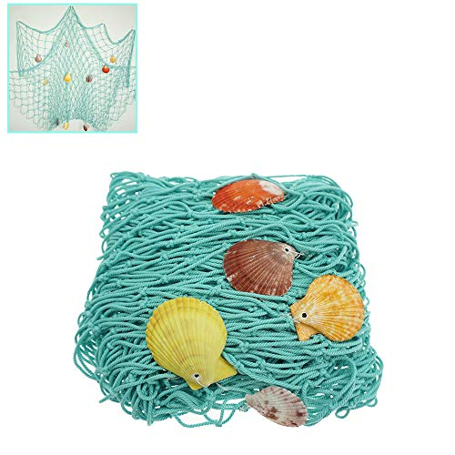 Aqua Rustic Decorative Fishing Net Wall Decor with Seashells, Nautical Style Wall Hangings Ornaments,by Shxstore]()