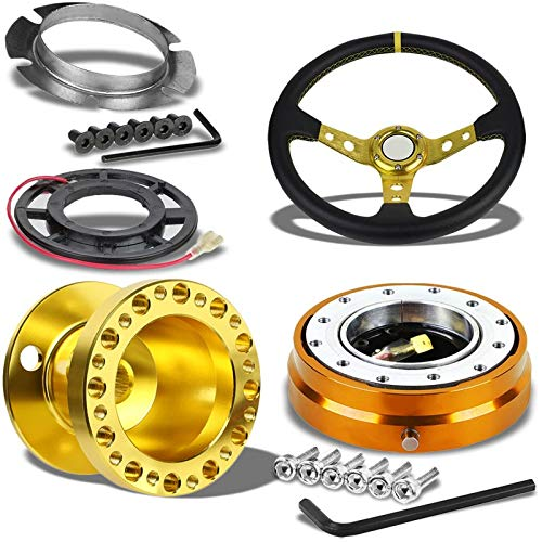 "350MM 3"" Gold Tri-Spoke/Gold Stripe Steering Wheel+Gold 6-Hole Hub Adapter+Gold Quick Release For 92-95 Integra DC2/Civic EG EH EJ"