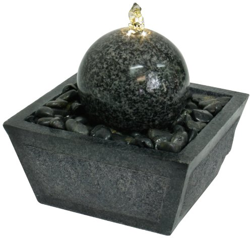 Algreen Illuminated Relaxation Fountain with Granite Ball and Natural - Floor Water Wall Kenroy