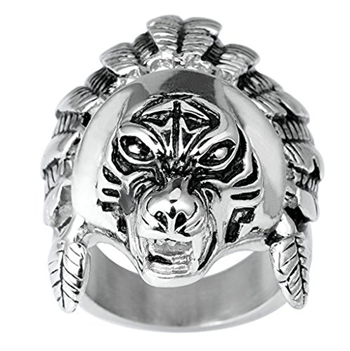 Beydodo Stainless Steel Men Rings Fierce Chief of Tiger Tribe Bands, Black Silver, Size (Baphomet Horns Costume)