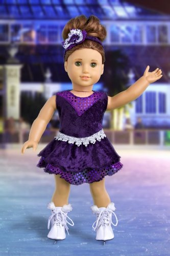 Ice Skating Queen – Outfit includes Purple Leotard with Ruffle Skirt, Decorative Head Band and White Skates – Clothing for 18 inch Dolls, Baby & Kids Zone