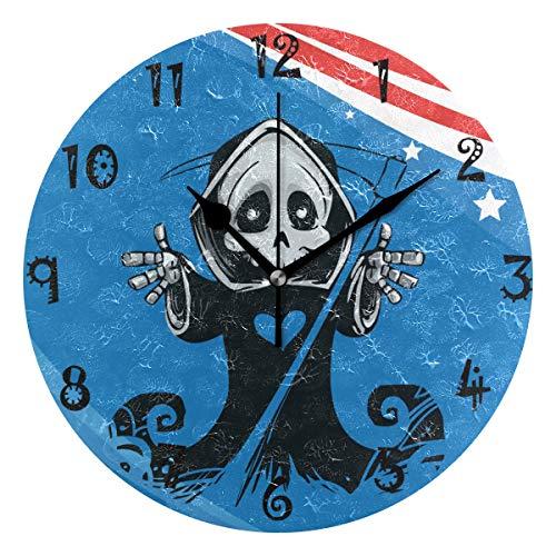 Flag Round Wall Clock Circular Plate Silent Non Ticking Clocks for Kitchen Home Office School Decor Kid Boys Girls ()