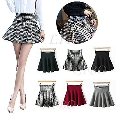 Gaorui Womens Knitted High Waist Short Plain Flared Skirt Pleated Skater Mini Dress